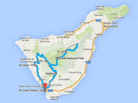 Coach tours Teide half day map