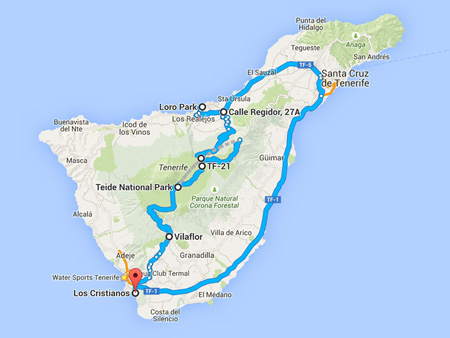 Coach tours Teide loro parque map