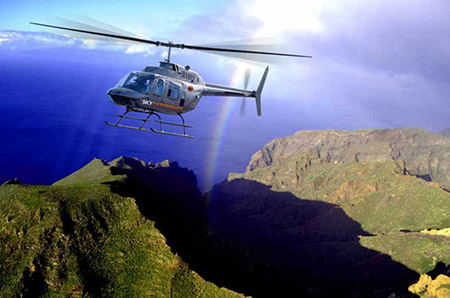 Helicopter tour cliffs giants tenerife
